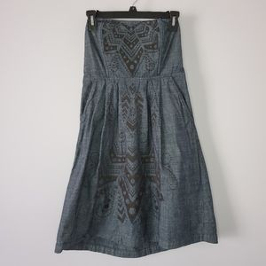 Fossil Denim Strapless Dress Small Geometric